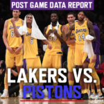 Lakers Data Report: Pistons Game