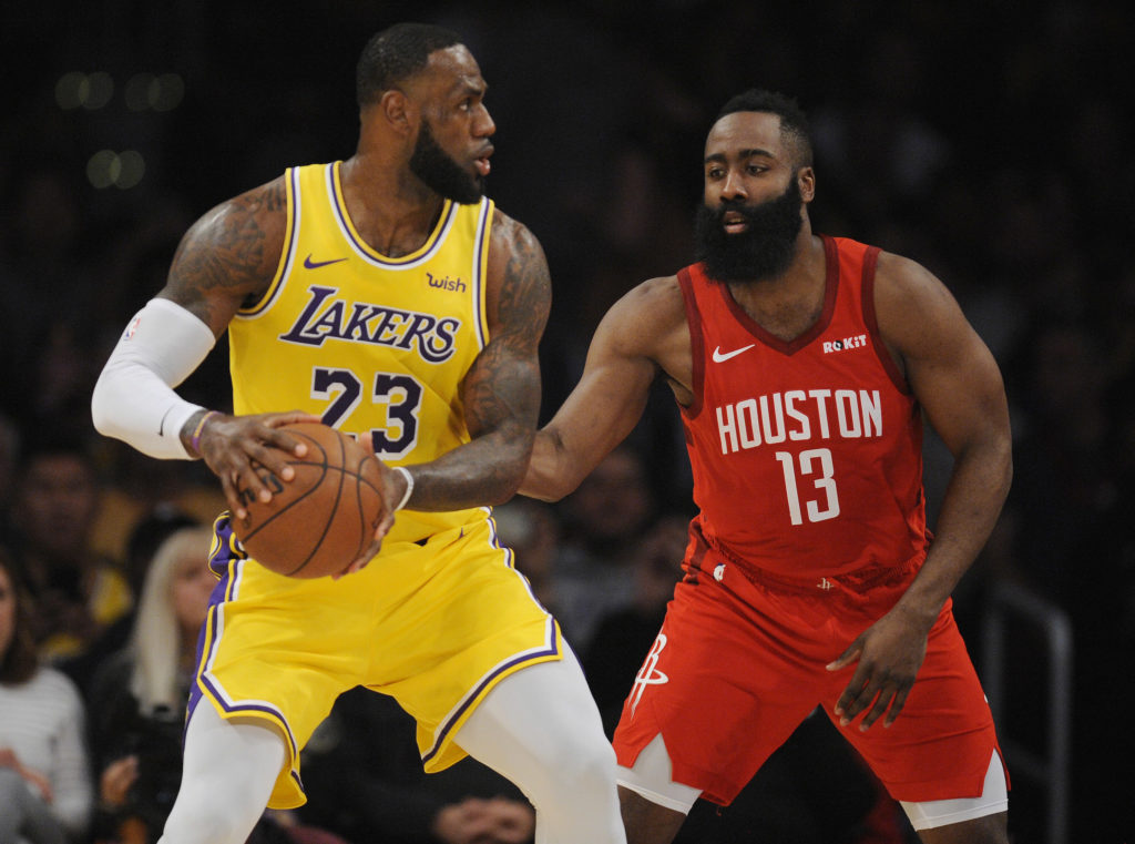 lakers rockets lebron james james harden scorer