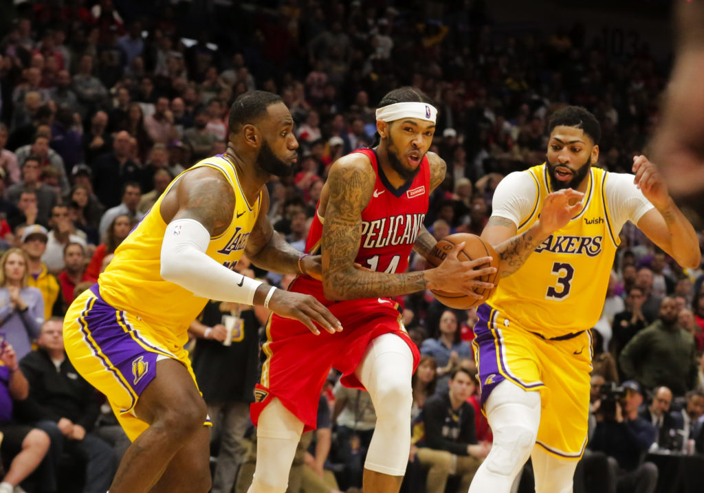 lakers pelicans anthony davis lebron james brandon ingram