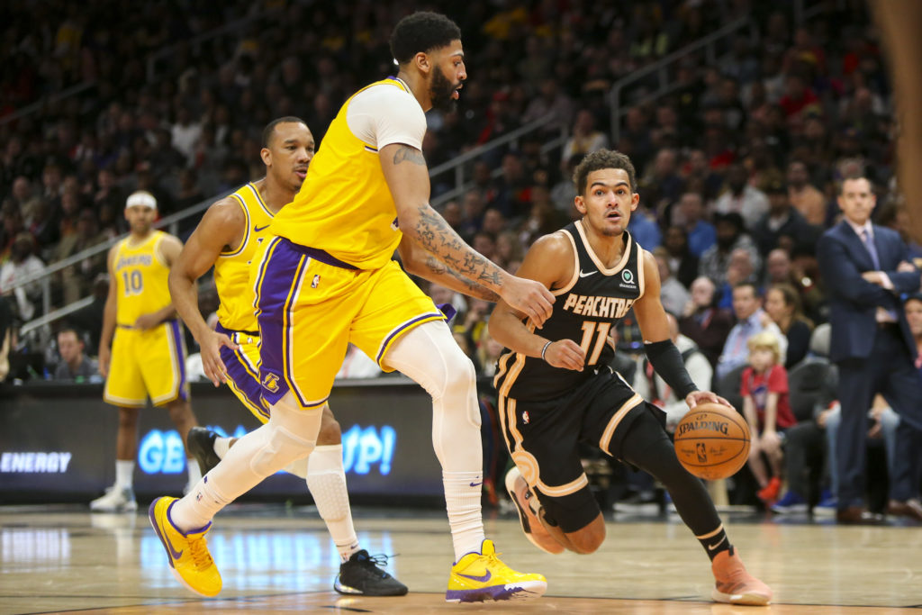 lakers hawks anthony davis trae young
