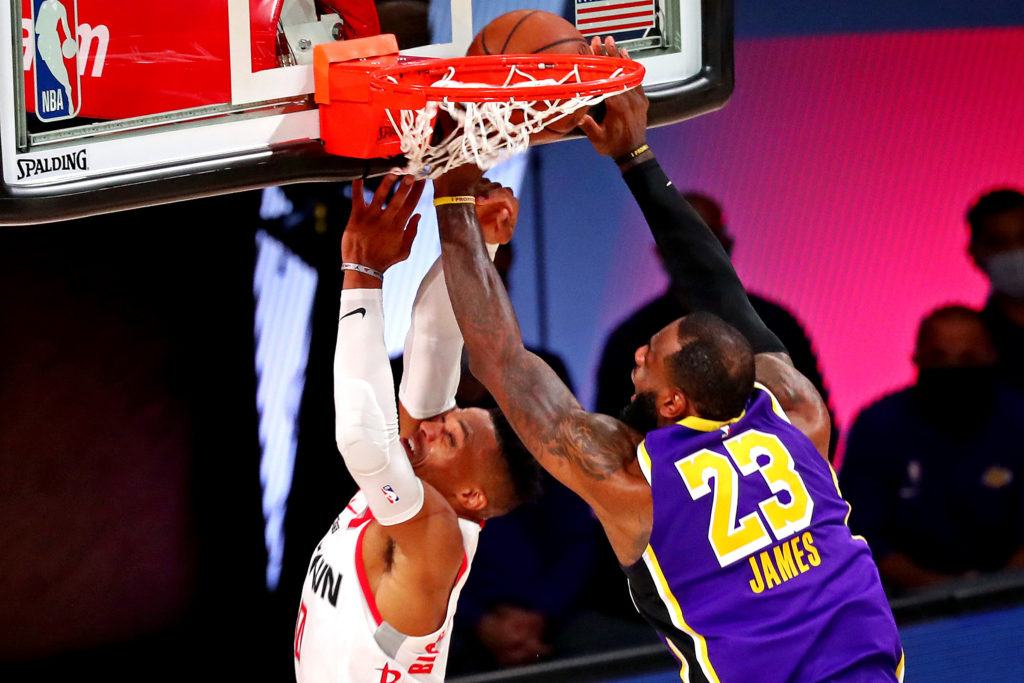 lakers rockets lebron james russell westbrook block
