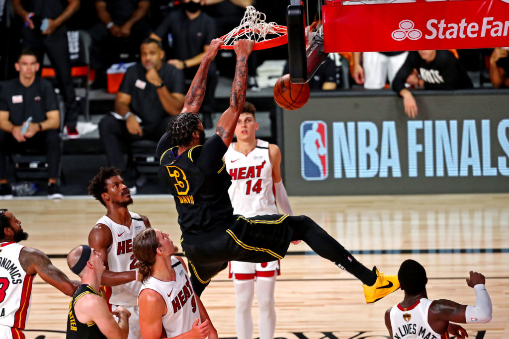 lakers heat anthony davis dunk nba finals