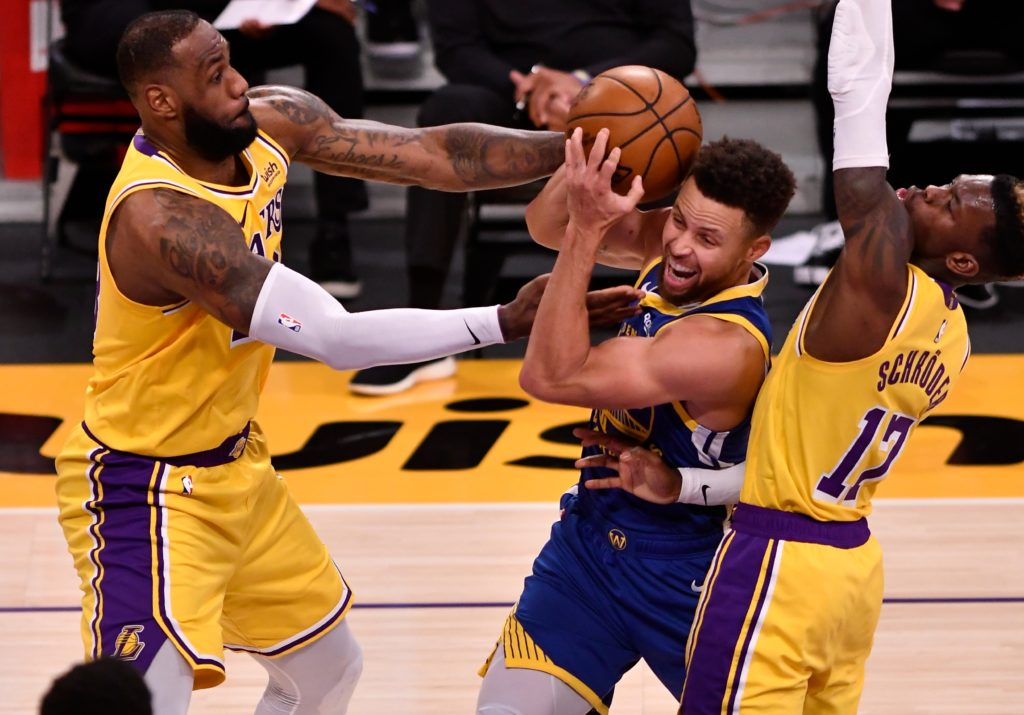 lakers warriors lebron james dennis schroder steph curry