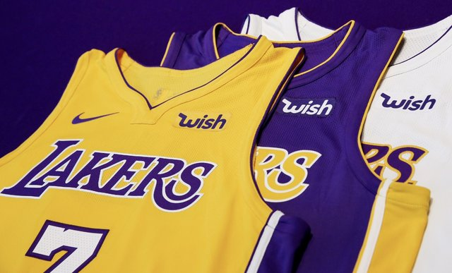 2cc096b14a9 Lakers Jersey Sponsor: Team agrees to 3 year deal with Wish - Forum Blue  And Gold